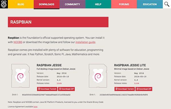 download raspbian jessie
