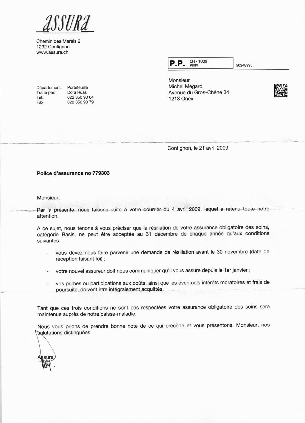 lettre type résiliation assurance véhicule
